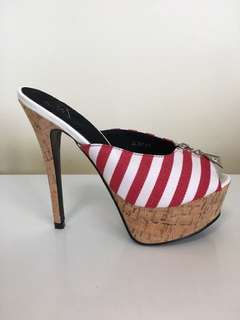 New Red and White Striped Cork Platform Heels Size 8