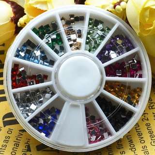 12 Colors 3D Metal Square Flatback Shiny Glitter Rhinestones Crystal Gem Wheel DIY Nail Art Decorations Phone Jewelry Tips Tools