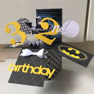 Happy 32 Birthday Batman Handmade Pop Up Card