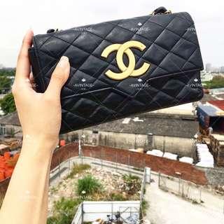 Chanel Vintage 大金釦信封形斜孭袋