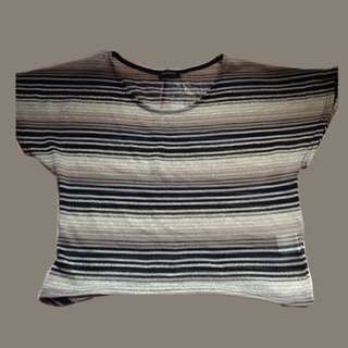Crop top gray white and black stripes