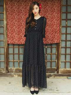 AO/KZC071324 - Fashion Korean White Dots Gauze Splicing V-Nneck Chiffon Long Dress