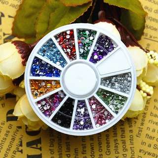 12 Color 3D Round Acrylic Studs Glitter Rhinestone Crystal Wheel DIY Nail Art Decoration Phone Manicure Tips Tool Jewelry Beauty
