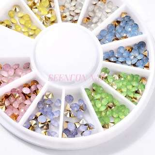 new arrive 1 wheel opal colors nail art pointed back rhinestones mix 6 different colors nail art crystal sharp gemstones charms