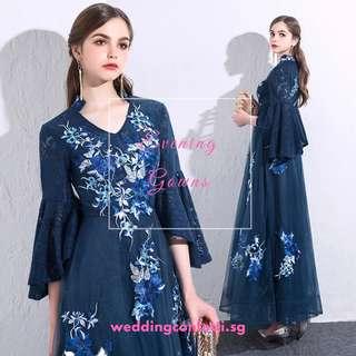 *Brand New* Kaftan Wedding Bridal Blue Floral Gown Dress