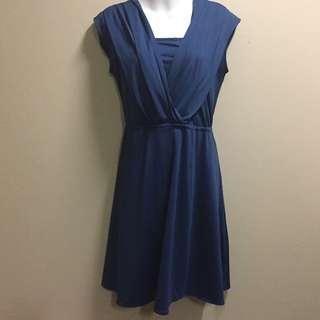 Ultramarine Blue Pleated V Dress
