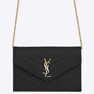 YSL MONOGRAM ENVELOPE CHAIN WALLET 代購