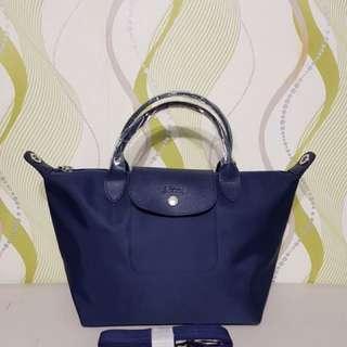 Longchamp neo small balck n navy blue