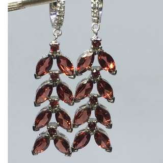 marquise cut Drop 8x4 Mozambique  Garnet cz sterling silver earrings 12.3 grams