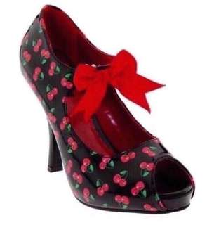 New Pin Up Couture CUTIEPIE-07 Black Red Patent Cherries Shoes US 6