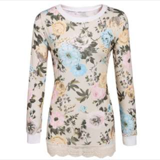 Floral Printed Long Sleeve Pullover