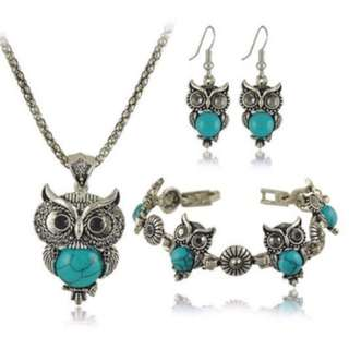 Charm Silver Plated Pendant Necklace, Earrings set