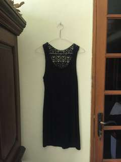 Dress hitam lace rajutan(Black dress cantik) Preloved, Size S/M