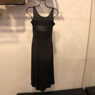 歐美黑色背心無袖度假性感長洋裝女神