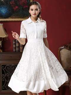 AO/KZC071336 - European Fashion Turn-down Collar Jacquard Floral Lace Dress