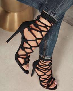 Lace up thin high heels