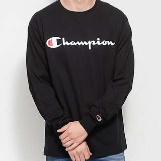 100% Authentic Champion Patriotic Script Long Sleeve Tee