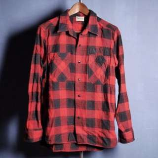 🚚 日本品牌 Parasite 紅黑格紋 復古格紋襯衫 長袖襯衫