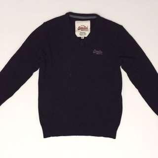 🚚 全新 Superdry 針織 毛衣 簡約 素色 小v領 假一賠萬