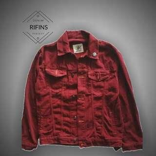 Jaket Jeans Denim - Maroon Light High Quality