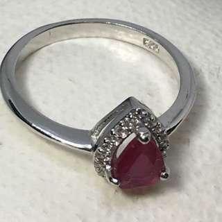 Elegant Pear Cut 7x5 Mm Top Rich Red Pink Ruby Cz 925 Sterling Silver Ring Sz 6