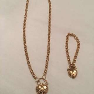 Gold plated filigree padlock neck lace and matching bracelet