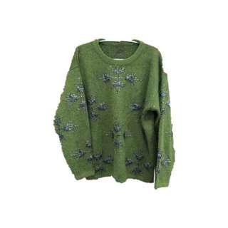 🚚 古著綠色雪花金蔥毛衣