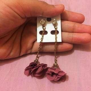 Rose petal long Earrings 🌹