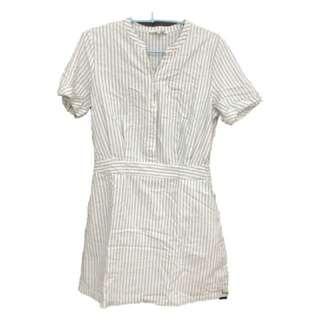 🚚 Mixxo韓系白色簡約條紋洋裝