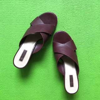Maroon Crossover Mules