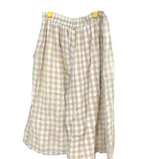 古著棉麻格子寬鬆寬褲