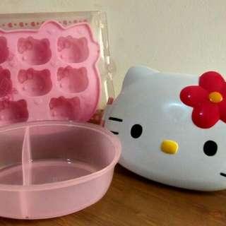 HELLO KITTY Ice Tray + Kotak Makan