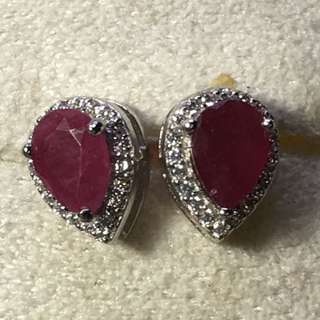 Elegant Pear Cut 7x5 Mm Top Rich Red Pink Ruby Cz 925 Sterling Silver Earrings