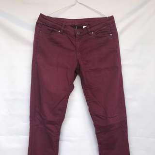 H&M maroon skinny jeans
