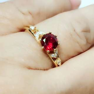 Elegant Round 6mm Top Red Mozambique Garnet White Cz 925 Sterling Silver Ring 8