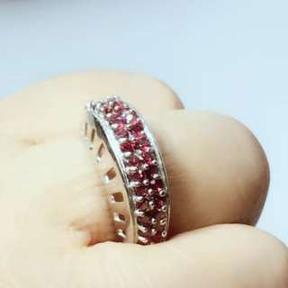 Gorgeous Top Rich Pink Raspberry Rhodolite Garnet 925 Sterling Silver Ring Sz 7