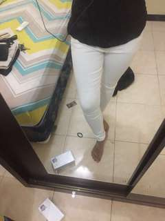 puny jeans white