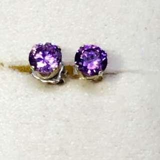 Pre-loved stud amethyst ster silver earrings