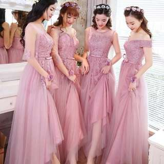Soft Pink Lace Chiffon Off Shoulders Wedding Bridesmaid / Dinner Gown