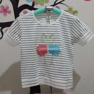 Baju atasan wanita stripe motif import