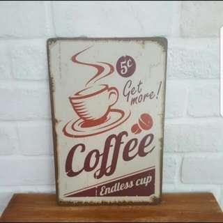 5cts Coffee Metal Plate Deco