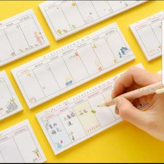 (Buy 5 get 1 free)Weekly Post It Memo Pad series 2