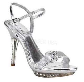Pleaser Womens Silver Glitter Open toe MONET-09 Heels Size US 7