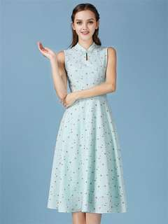 AO/HYC071556 - Grace Fashion Stand Collar Mini Floral Tank Maxi Dress