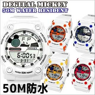 日本 Disney Mickey Shock 50m防水手錶。預購,3月3日截單