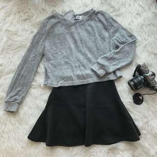 Jersey Crop Top + Black Flare Skirt