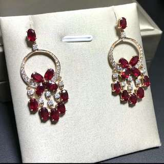 🍍6.6 carats!!! 18K Gold - Natural Pigeon Red Ruby Gem Gorgeous Earrings🍍