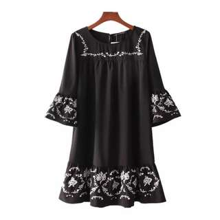 women's clothing 2018 flower heavy embroidery soft woven dress