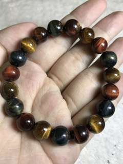 10mm 3 colors (blue, gold & red) Tiger Eye Bracelet 三色虎眼手串10mm beads