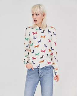 European and American style dogs print collar collar loose long-sleeved shirt blouse